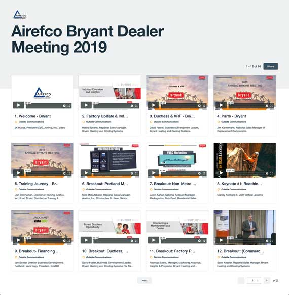 Airefco Bryant Dealer Meeting video gallery page