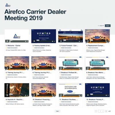 Airefco Carrier Dealer Meeting video gallery page