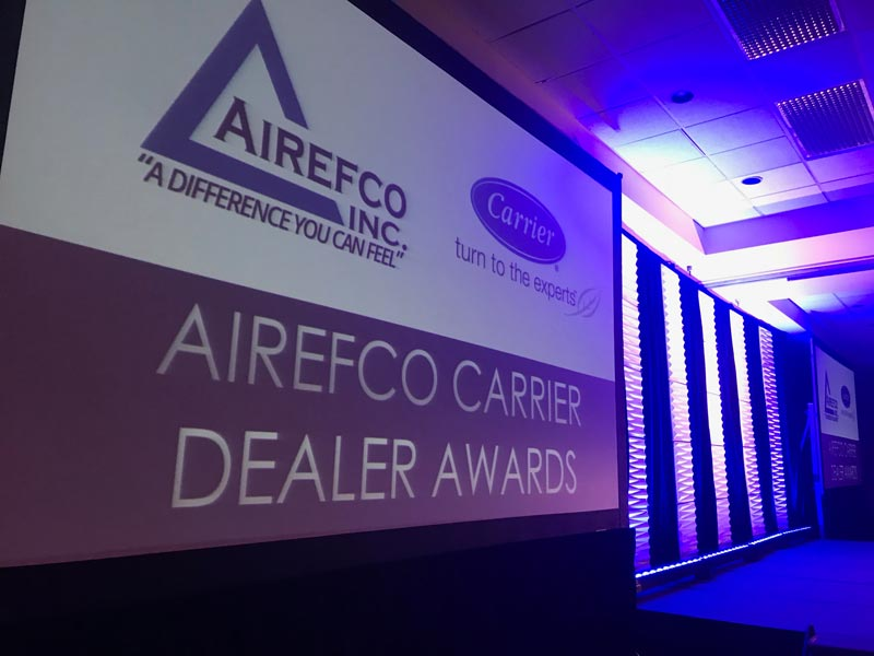 Airefco Carrier Dealer Meeting display sign titled airefco carrier dealer awards