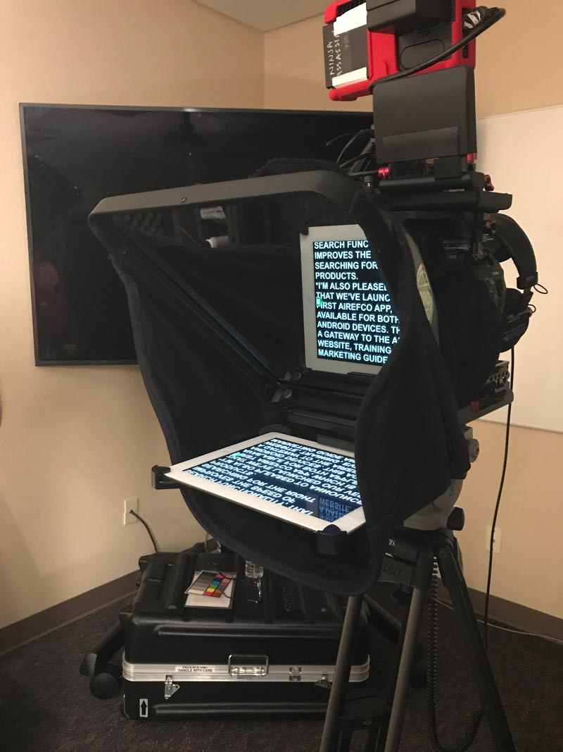 Airefco interview teleprompter setup