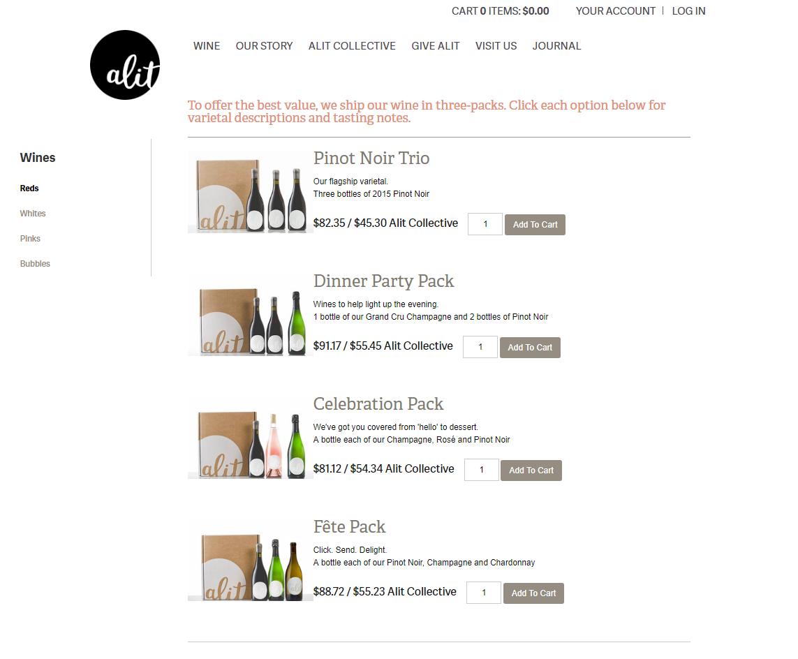 Alit wines website online store