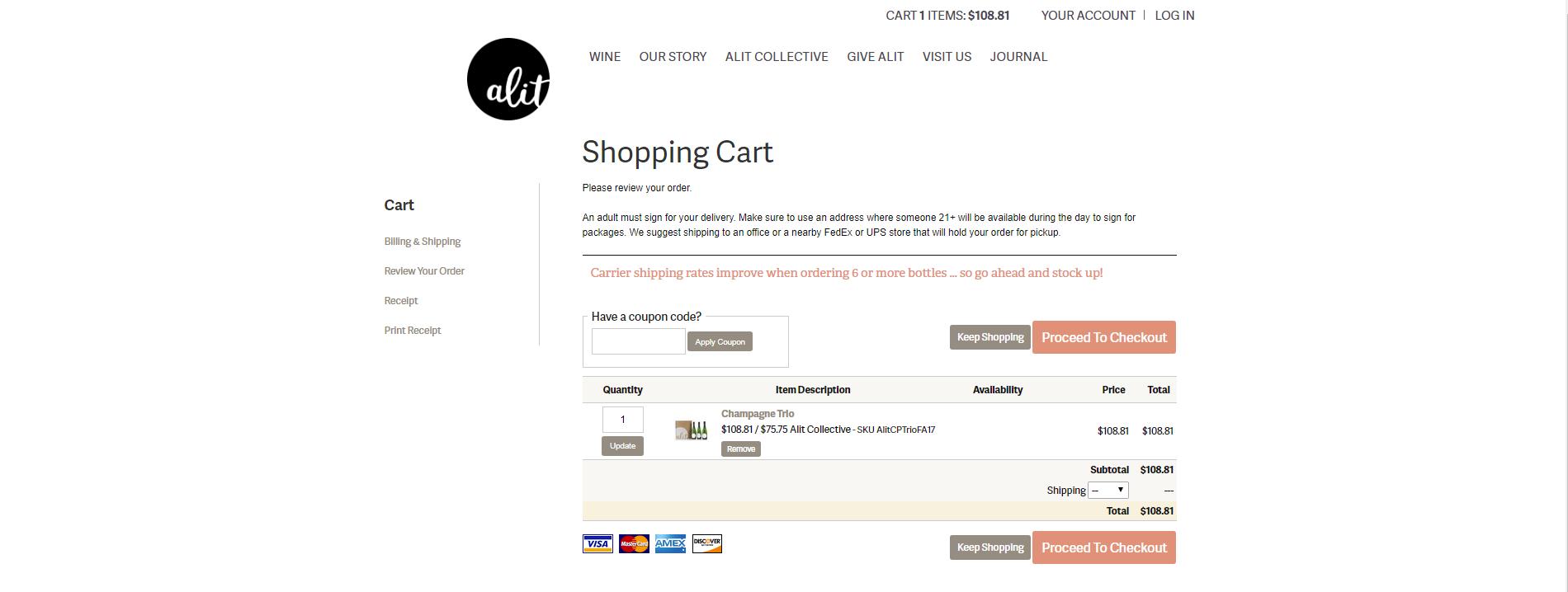 Alit wines website online store shopping cart