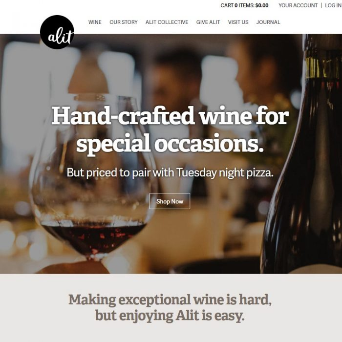 Alit wines website homepage
