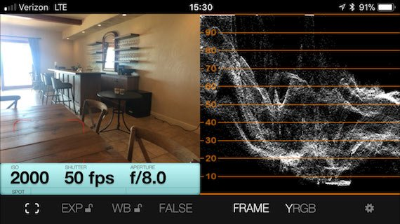 a lightmeter app reading inside a downstairs room of the Black Walnut Inn & Vineyard