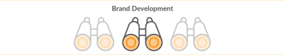 brand development title with three binocular icons