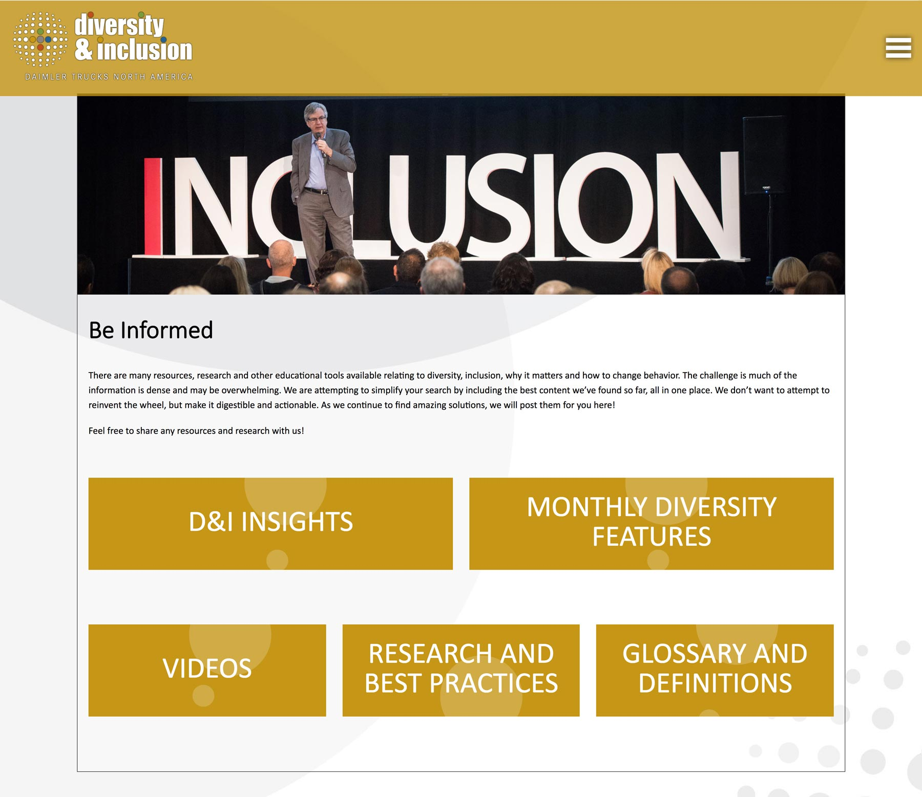 daimler trucks north america diversity and inclusion website be informed resource page designed by outside communications