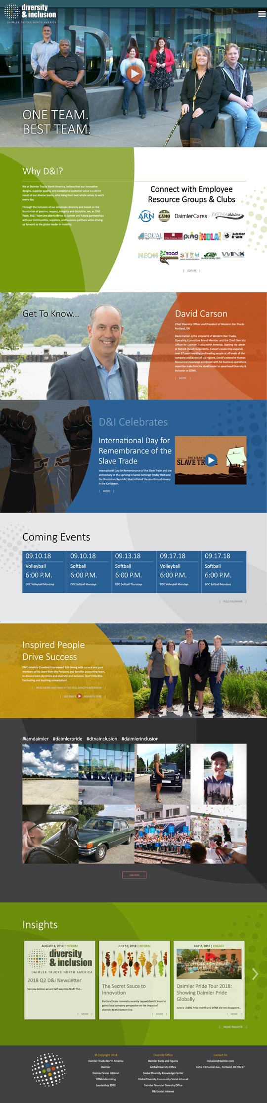 Entire Homepage of Daimler Trucks North America Diversity and Inclusion Website designed by Outside Communications