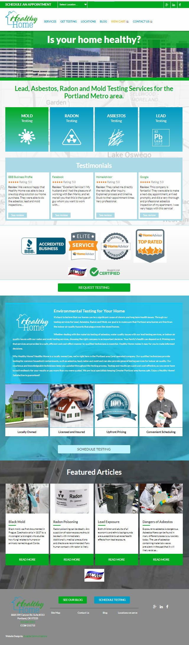 Healthy home website services page
