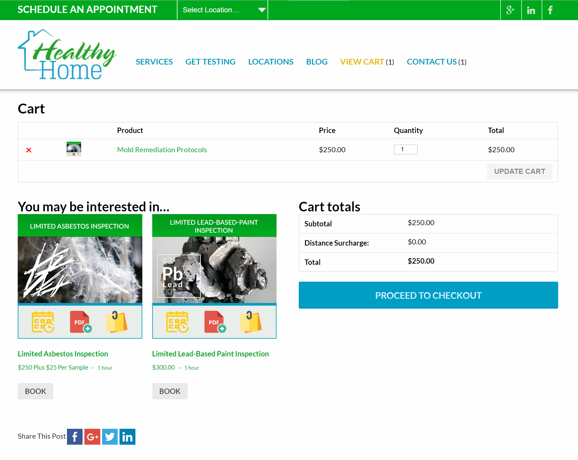 Healthy Home website shopping cart ready for checkout
