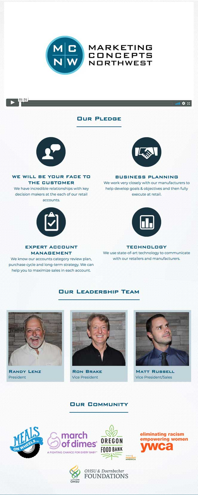 mcnw leadership and about us webpage designed by outside communications