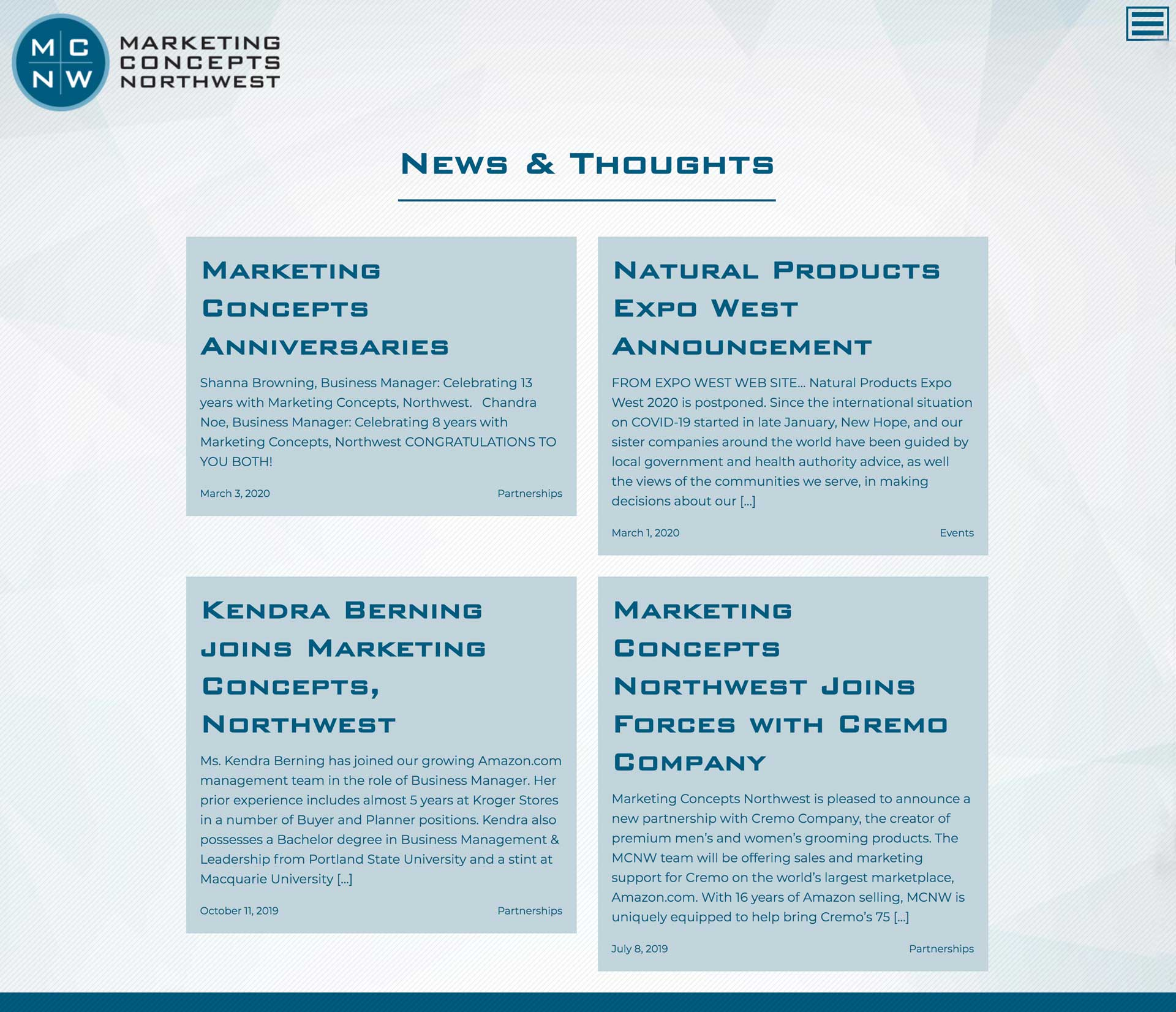 mcnw news and thoughts webpage designed by outside communications
