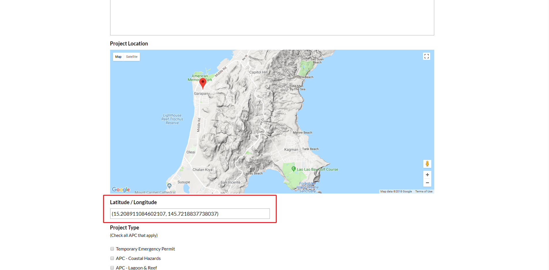 Northern Mariana Island's Division of Coastal Resources website location map