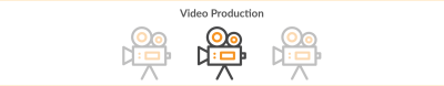 video production title with three cinema camera icons