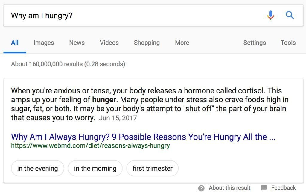 why am I hungry position zero google search result