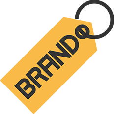 yellow tag on a key ring with the word brand printed on it