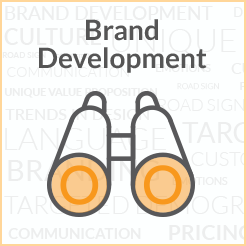 brand development clickable button linked to brand development page