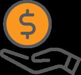 hand holding a dollar symbol