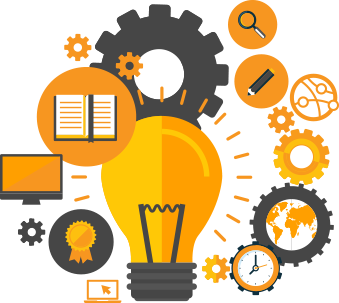 lightbulb idea with gears and various branding idea objects