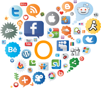 cloud of social icons around outside communications icon
