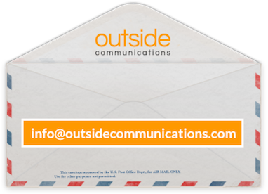outside communications email info at outside communications dot com over an envelope