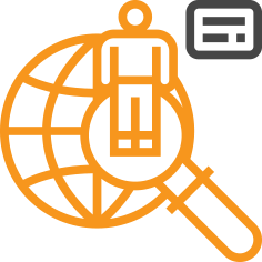 icon of man standing on a magnifying glass over world wide web symbol