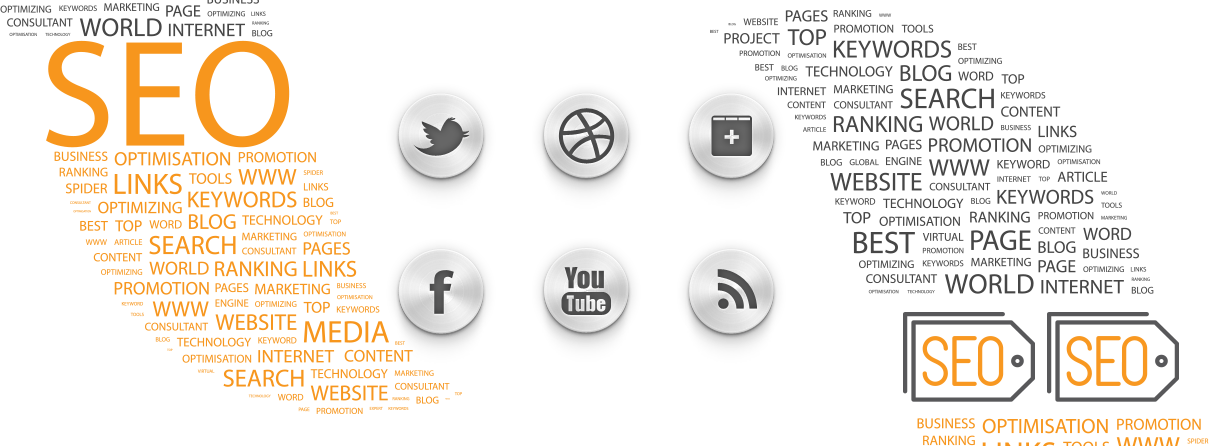 search engine optimization related word cloud with social icons in the center