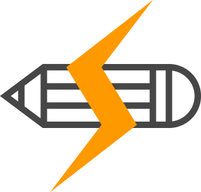 graphic icon of a pencil with an orange lightning bolt