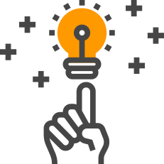 graphic icon of lightbulb idea with a hand pointing to it