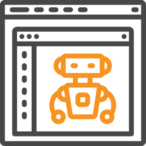 icon of robot on a website page