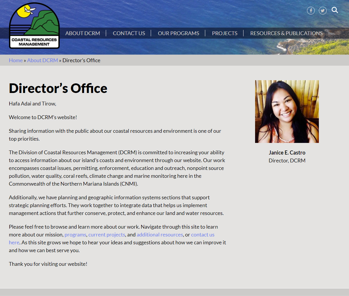 Northern Mariana Island's Division of Coastal Resources website welcome screen