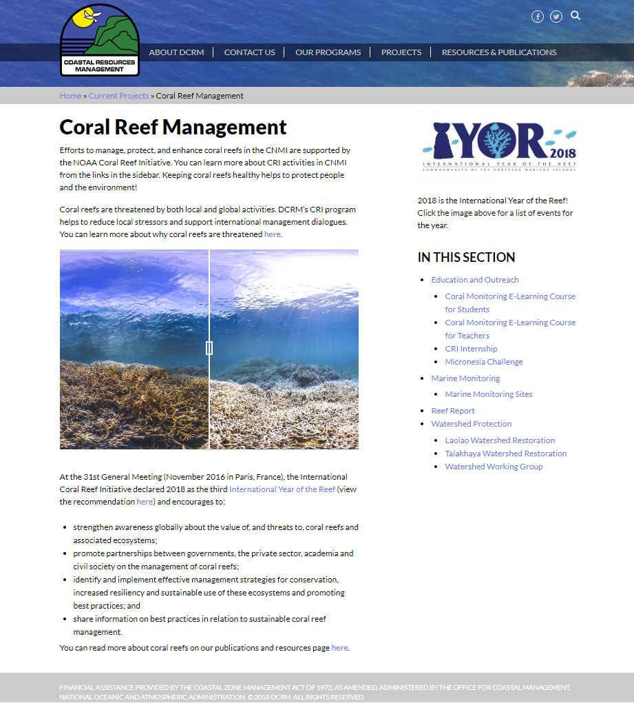 Northern Mariana Island's Division of Coastal Resources website Coral Reef Management page