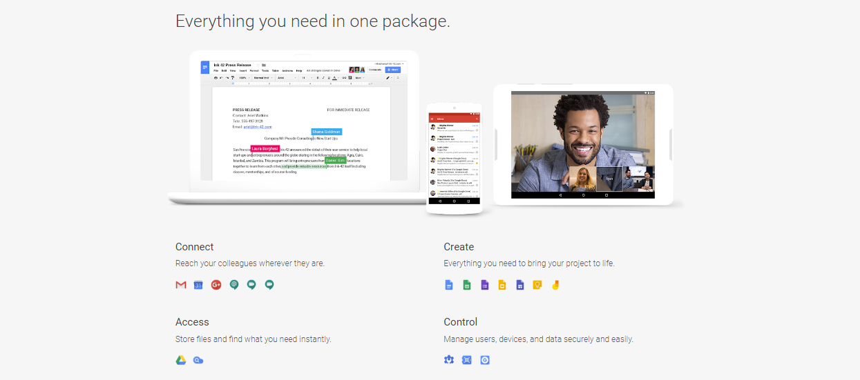 Google Suite promotion page with features overview