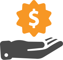 icon of hand below a dollar sign in a sales star