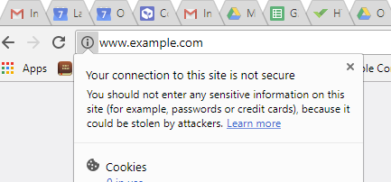 site not secured by https