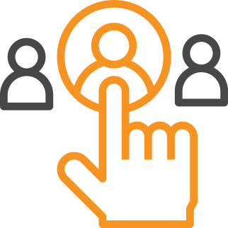 orange hand click icon selecting one of three users