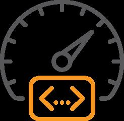 speedometer behind website development code symbol