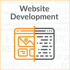 website development clickable button linked to website development page
